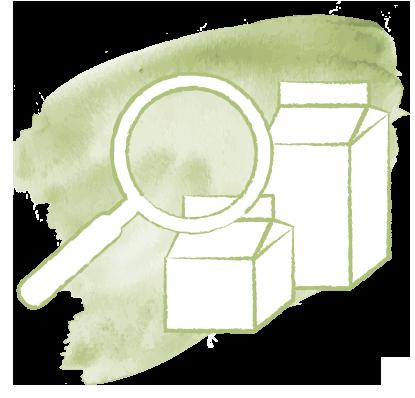 Icon zeigt eine Lupe die auf Milchprodukte gerichtet ist